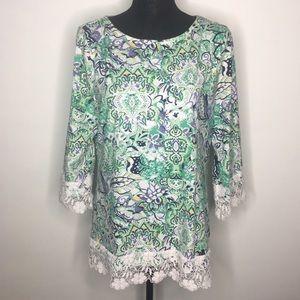 Charter Club White & Green Crochet Trimmed Top